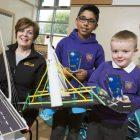 Pupils show off their bridge-building skills