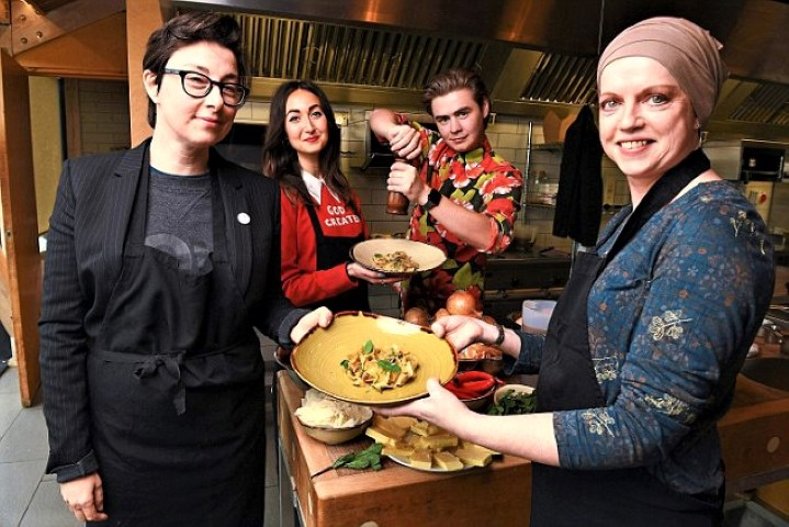 Life Kitchen, pictured with Sue Perkins, were supported by the North East BIC